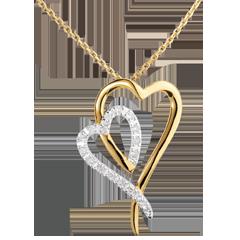 Colier Reflex - 17 diamante - aur alb şi aur galben de 18K