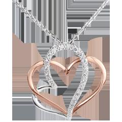 Collana Amore mio - Oro bianco e Oro rosa - 18 carati - 18 Diamanti - 0.12 carati
