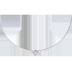Collana Cable punto luce diamante - Oro bianco - 18 carati - Diamante - 0.13 carati