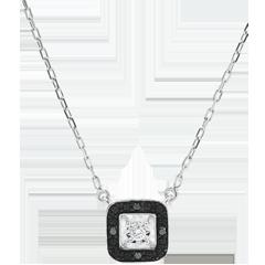 Collana Chiaroscuro - Oro bianco - 9 carati - Diamanti neri e diamante bianco