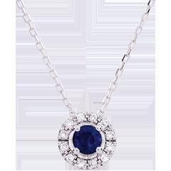 Collana Clevia - Oro bianco - 9 carati - 12 Diamanti - Zaffiro