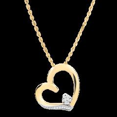 Collana Cuore Amore - Oro bianco e Oro giallo - 9 carati - 1 Diamante