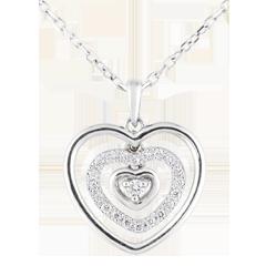 Collana Cuore Impronta - Oro bianco - 18 carati - 21 Diamanti