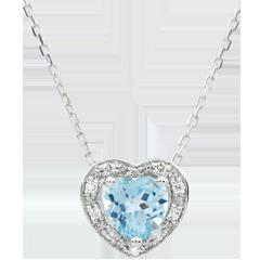 Collana Cuore Incantato - Oro bianco - 18 carati - 10 Diamanti - Topazio blu - 0.97 carati