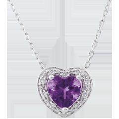Collana Cuore Incantato - Oro bianco - 9 carati - 10 Diamanti - Ametista - 0.75 carati