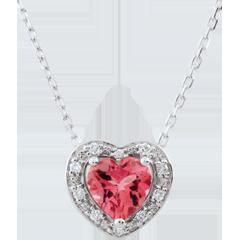 Collana Cuore Incantato - Oro bianco - 9 carati - 10 Diamanti - Tormalina rosa - 0.83 carati
