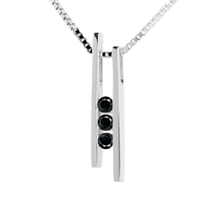 Collana Diapason Trilogy - Oro bianco - 18 carati - 3 Diamanti neri