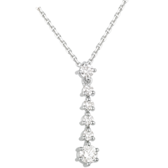 Collana Fiocchi di neve - Oro bianco - 18 carati - 6 Diamanti - 0.33 carati
