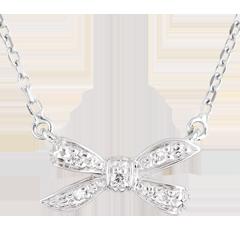 Collana Fiocco dell'Eden - Oro bianco - 9 carati - 5 Diamanti