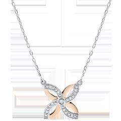 Collana Freschezza - Giglio d'estate - Oro bianco e Oro rosa - 9 carati - Diamanti