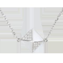 Collana Genesi - Diamante grezzo - Oro bianco - 9 carati - Diamanti