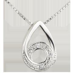 Collana Goccia di Poesia - Oro bianco - 18 carati - 5 Diamanti