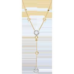 Collana Graziella - Oro bianco e Oro giallo - 9 carati - 8 Diamanti