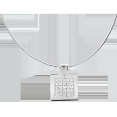 Collana Impronta - Oro bianco pavé - 18 carati - 25 Diamanti - 0.45 carati