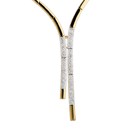 Collana Mise da sera - Oro bianco e Oro giallo - 18 carati -25 Diamanti - 0.32 carati