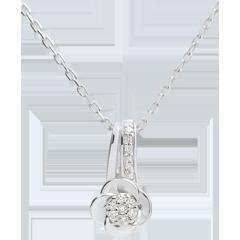 Collana Sboccio - Petali di Rosa - Oro bianco - 18 carati - Diamanti