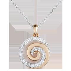 Collana Spirale d'amore - Oro bianco e Oro rosa - 9 carati - 24 Diamanti - 0.12 carati