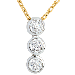 Collana Trilogy Filante - Oro giallo e Oro bianco - 18 carati -3 Diamanti
