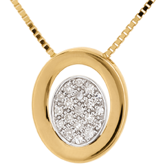 Collar Circular - oro amarillo empedrado 18 quilates