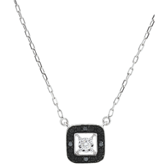 Collar Claroscuro - oro blanco 9 quilates - diamante negro 0. 03 quilates