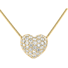 Collar corazón empedrado oro amarillo - 0.85 quilates - 50 diamantes
