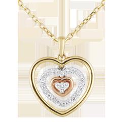 Collar Corazón Orma - 3 oros - oro balanco, amarillo, rosa y diamante