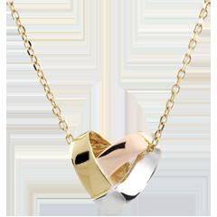 Collar Corazón Plegable 3 oros - oro amarillo, oro blanco, oro rosa 9 quilates