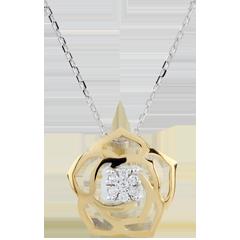 Collar Frescura - Bosquejo de Rosa - oro blnaco y oro amarillo 9 quilates