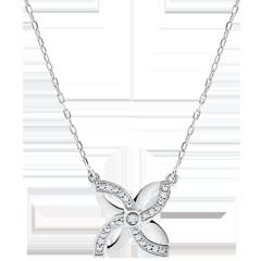 Collar Frescura - Lirio de Verano - oro blanco 9 quilates
