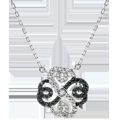 Collar Frescura - Trébol Arabesco - oro blanco 9 quilates y diamantes blancos y diamantes negros