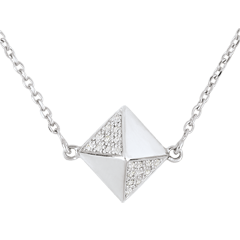 Collar Génesis - Diamante Bruto - oro blanco 9 quilates