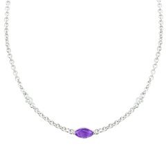 Collar Mirada de Oriente - amatista y diamantes - oro blanco 9 quilates