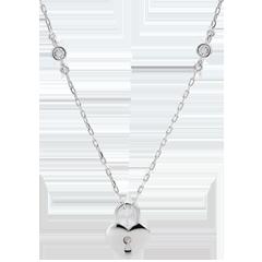 Collar Precioso Secreto - Corazón - oro blanco 9 quilates