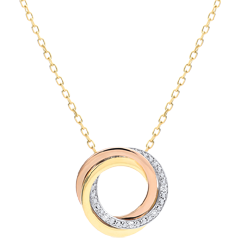 Collar Saturno - 3 oros 18 quilates y diamantes