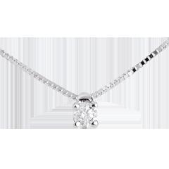 Collar Solitario oro blanco - 0.07 quilates 45 cm.