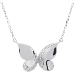 Collier Balade Imaginaire - Papillon Cascade - or blanc