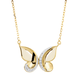Collier Balade Imaginaire - Papillon Cascade - or jaune
