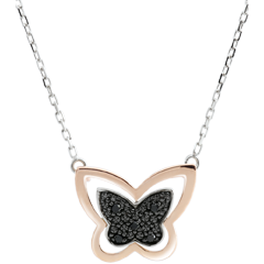 Collier Balade Imaginaire - Papillon Lunaire - or blanc et or rose 18 carats et diamants noirs
