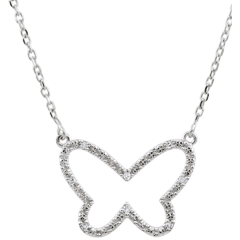 Collier Balade Imaginaire - Papillon Nuage - or blanc