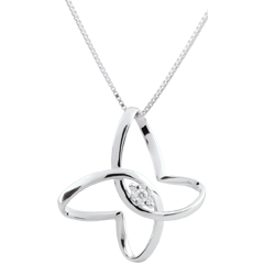 Collier Balade Imaginaire - Papillon Ruban - or blanc 9 carats