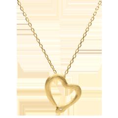 Collier Balade Imaginaire - Serpent d'amour - variation petit modèle - or jaune brossé diamant - 9 carats