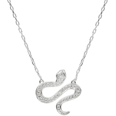 Collier Balade Imaginaire - Serpent Envoutant - or blanc 9 carats et diamants
