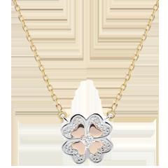 Collier Blüte - Dreierlei Gold und Diamanten - Glitzernder Klee