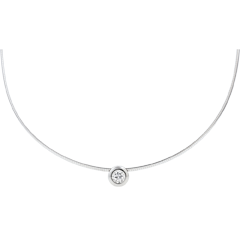 Collier cable or blanc puce diamant