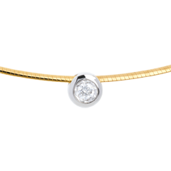 Collier Cable puce diamant - or blanc et or jaune 18 carats