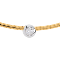 Collier Cable puce diamant (TGM) - or blanc et or jaune 18 carats