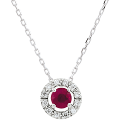 Collier Clévia - rubis - or blanc 9 carats