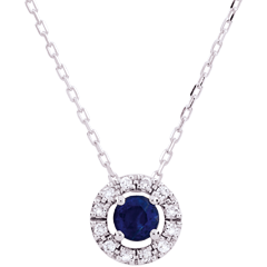 Collier Clévia - saphirs - or blanc 9 carats
