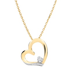 Collier coeur Amour-Amour - or blanc et or jaune 18 carats