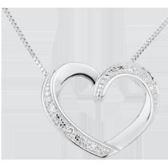 Collier coeur amoureux or blanc 18 carats et diamants